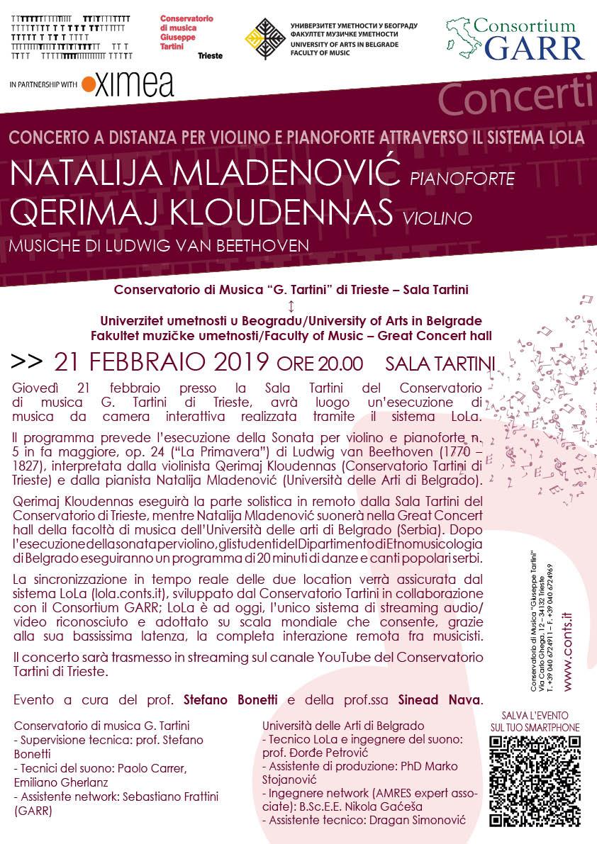Concerto a distanza per violino e pianoforte attraverso il sistema LoLa