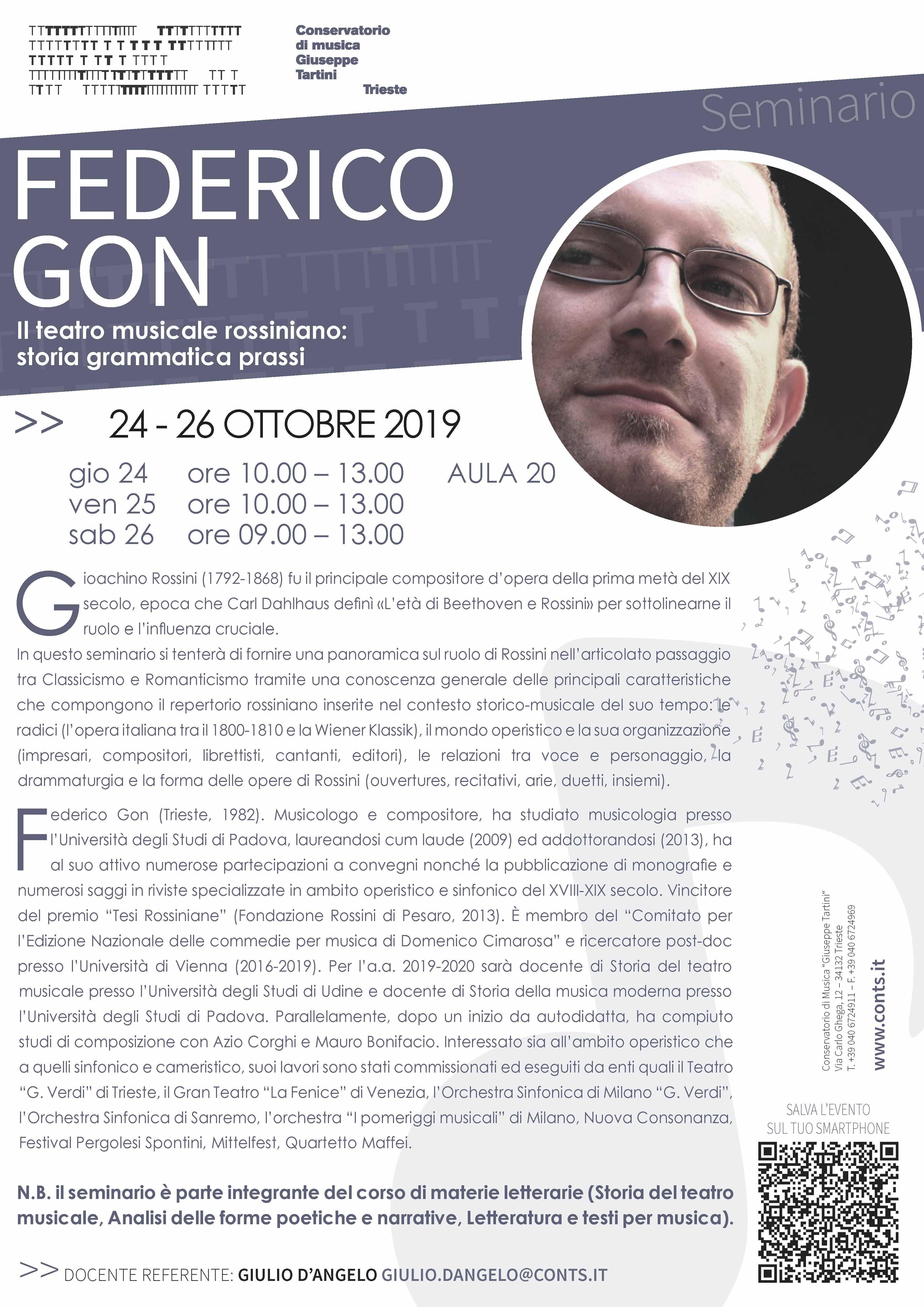 """Seminario: """"Il teatro musicale rossiniano: storia grammatica prassi"""""""